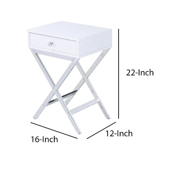 Wood and Metal Side Table with Crossed Base, White and Silver - BM204493