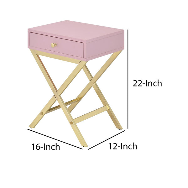 Wood and Metal Side Table with Crossed Base, Pink and Gold - BM204494