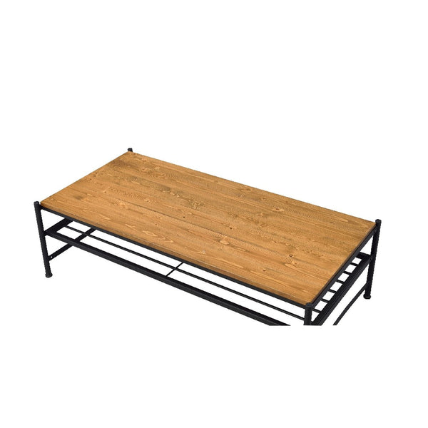 Metal and Wood Coffee Table with Slatted Bottom Shelf,Brown and Black - BM204495