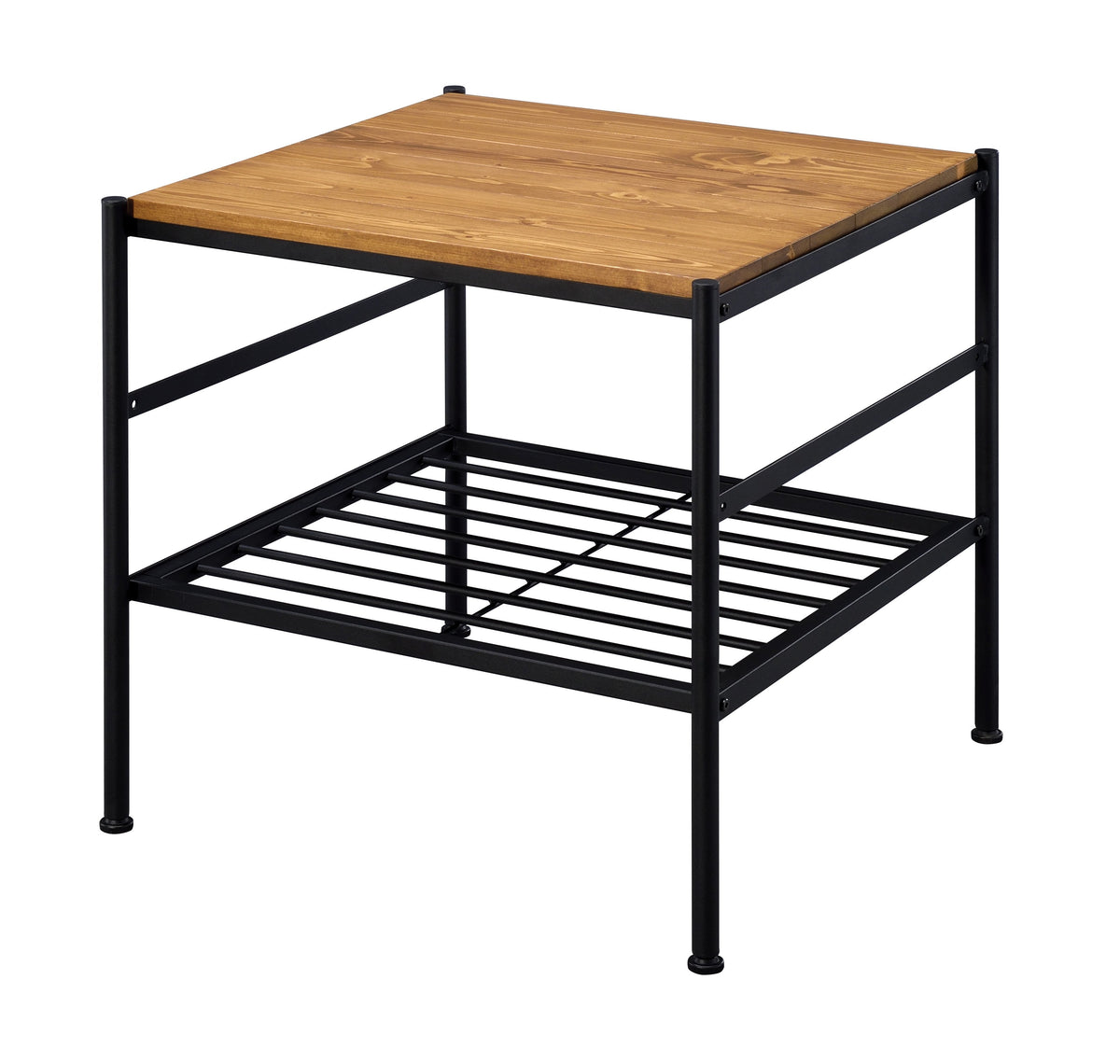 Picture of: Benjara Metal And Wooden End Table With Slatted Bottom Shelf Brown And Black Bm204496 Benzara Com