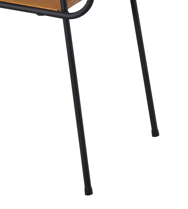 Metal and Wooden End Table with 2 Bottom Shelves, Brown and Black - BM204497