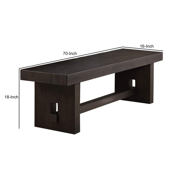 Transitional Style Wooden Bench with Trestle Base, Brown - BM204540
