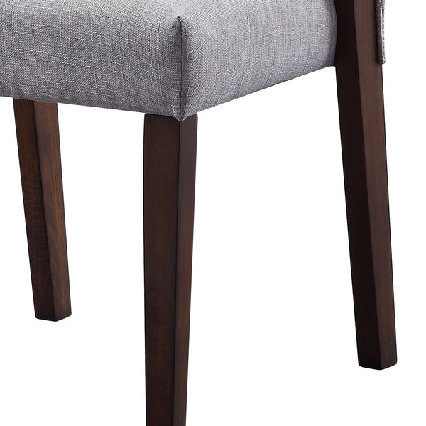 Wood and fabric Upholstered Dining Chairs, Set of 2, Gray and Brown - BM204542
