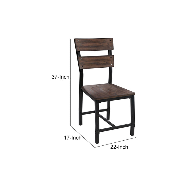 Wood and Metal Dining Side Chairs, Set of 2, Brown and Black - BM204546