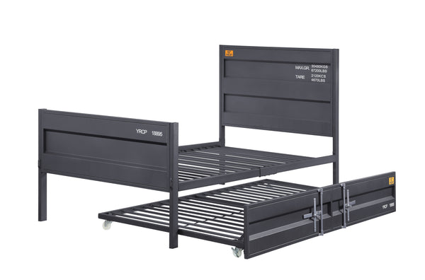 Industrial Style Metal Twin Size Bed with Straight Leg Support, Gray - BM204612