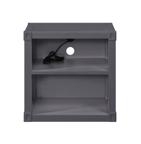 Metal Nightstand with 2 Open Compartment and USB Port, Gray - BM204614