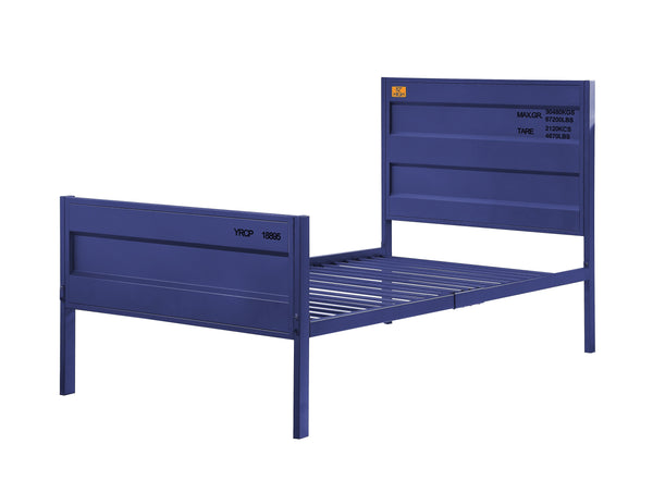 Industrial Style Metal Twin Size Bed with Straight Leg Support, Blue - BM204620