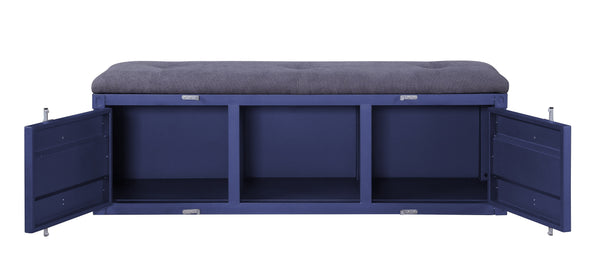 Industrial Metal and Fabric Bench with Open Storage, Blue and Gray - BM204627