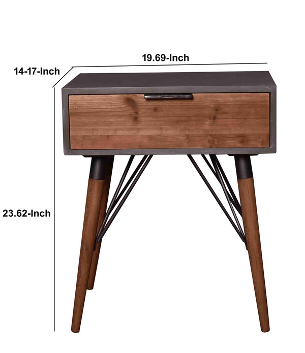 Wooden Side Table with Single Drawer and Angled Legs, Gray and Brown - BM204735