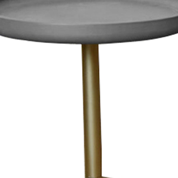 Round Wooden Side Table with Tripod Base, Large, Gold and Gray - BM204738