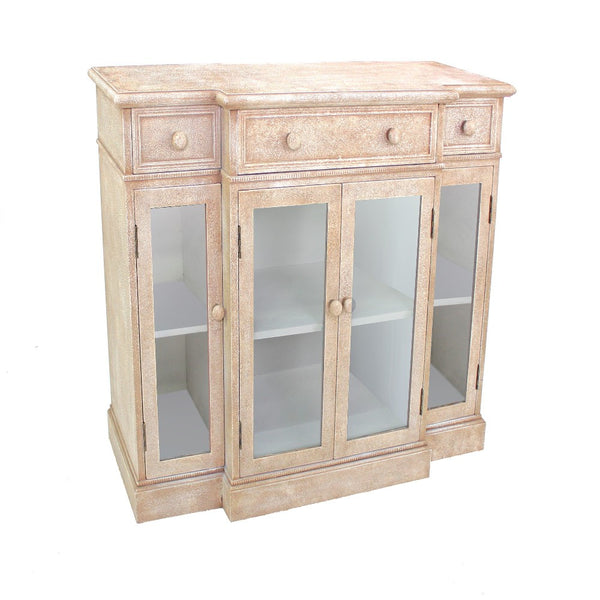 4 Door Wood and Glass Storage Cabinet with 3 Drawers, Beige and Clear - BM204769