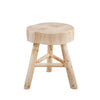 Farmhouse Style Wooden Stool with Angled Legs Supoort, Beige - BM205072