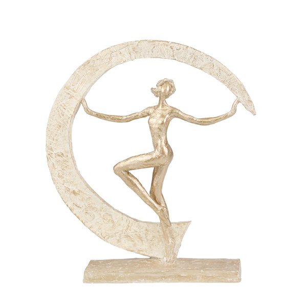 Contemporary Polyresin Ballet Dancer Figurine with Cresent Moon, Gold - BM205091