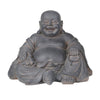 Laughing Buddha Polyresin Figurine with Dusty Appearance, Gray - BM205092
