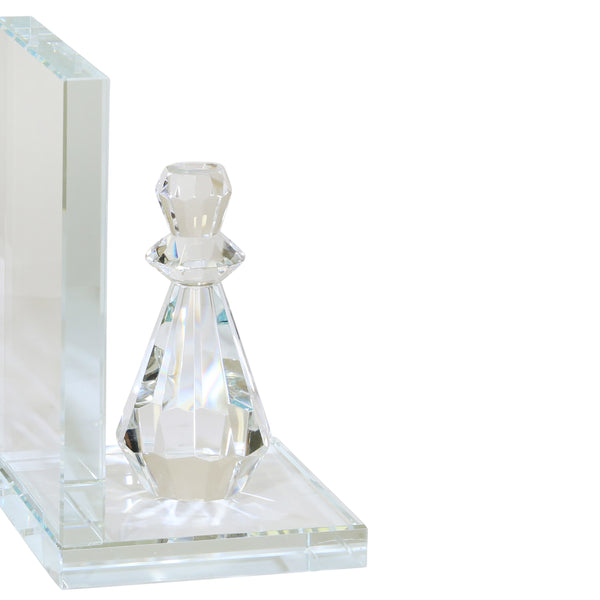 Glass Made Chess Piece Bookend, Pair of 2, Clear - BM205102