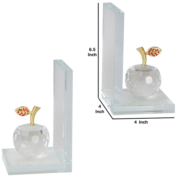 Glass Made Apple Statuette Bookend, Pair of 2, Clear and Gold - BM205104