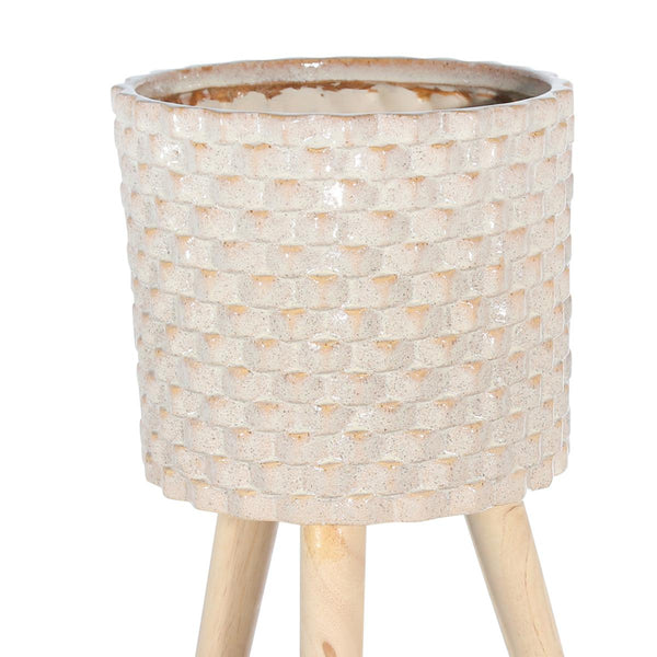 Textured Ceramic Planter with Tripod Legs, Set of 2, Cream and Brown - BM205141