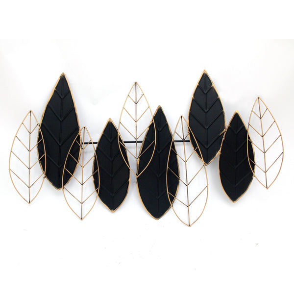 Decorative Metal Leaf Wall Decor with Intricate Details,Gold and Black - BM205166