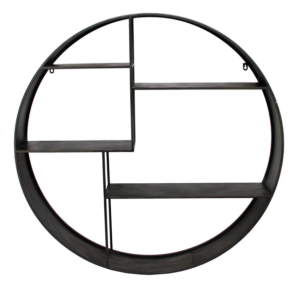 Industrial Round Metal Wall Shelf with 4 Display Space, Gray - BM205169