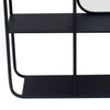 Transitional Vertical Metal Wall Shelf with Mirror, Black and Silver - BM205170