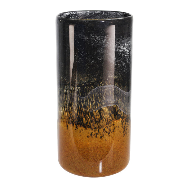 Contemporary Glass Vase with Marble Like Texture, Brown and Black - BM205191
