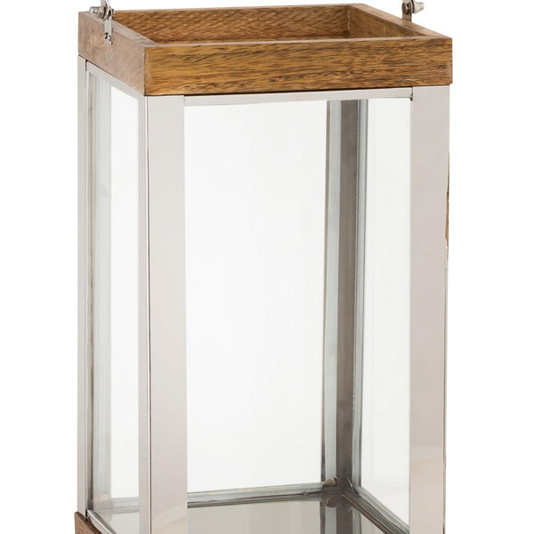 Wood and Metal Lantern with Glass Panel Inserts, Large,Brown and Clear - BM205196