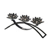 Contemporary Lotus Shaped Glass Candle Holder with Metal Base, Black - BM205210