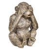 Ribbed Polyresin Chimpanzee Figurines, Set of 3, Bronze and Gray - BM205222