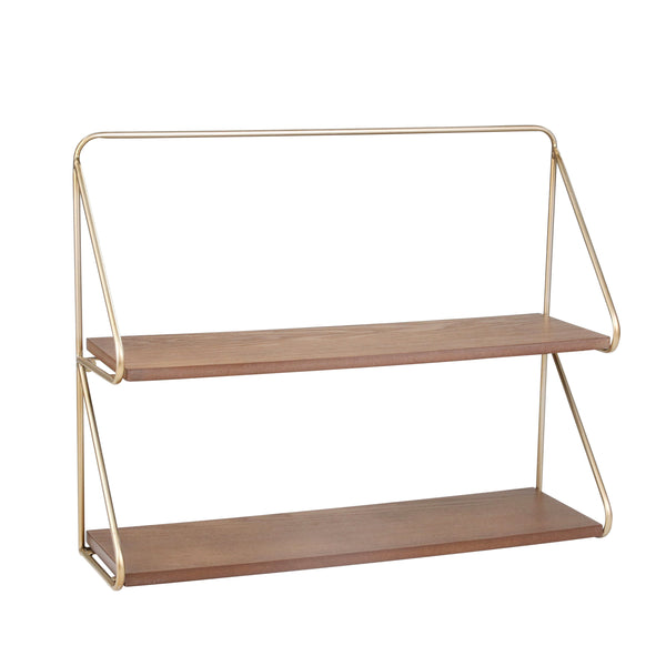 Contemporary Wood and Metal Ornate 2 Tier Wall Shelf, Brown and Gold - BM205228