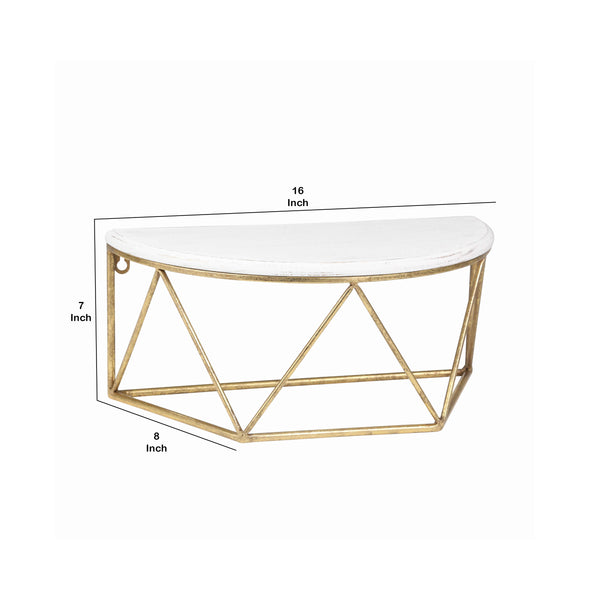 Wood and Metal Wall Shelf with Half Moon Shaped Top, White and Gold - BM205236