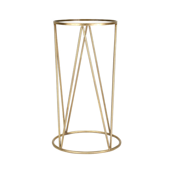 Metal Accent Table with Truss Support, Set of 2, Gold and Silver - BM205240