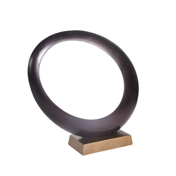 Aluminum Ovoid Sculpture with Block Base, Bronze and Black - BM205262