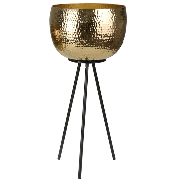 Hammered Textured Metal Bowl Planters on Tripod Base, Set of 2, Gold and Black - BM205274