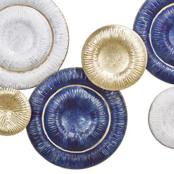 Metal Round Disc Wall Decor with Ribbed Details, Multicolor - BM205289
