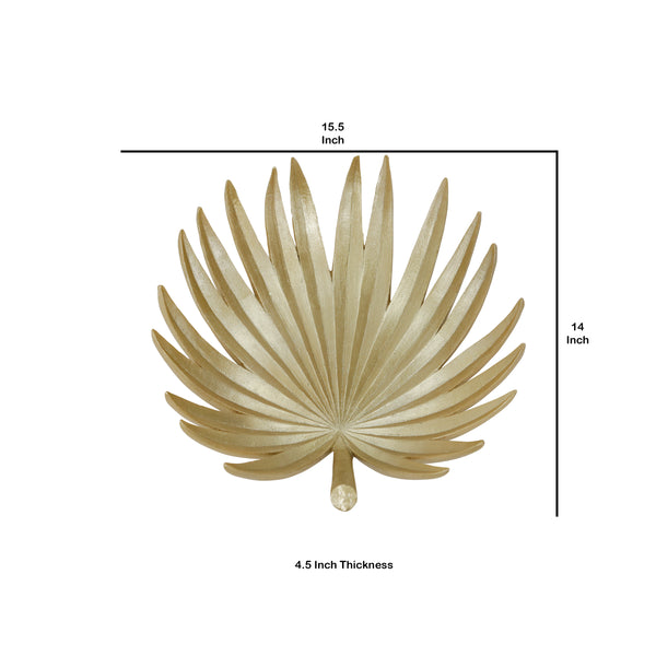Polyresin Decorative Plate with Palm Leaf Design, Gold - BM205298