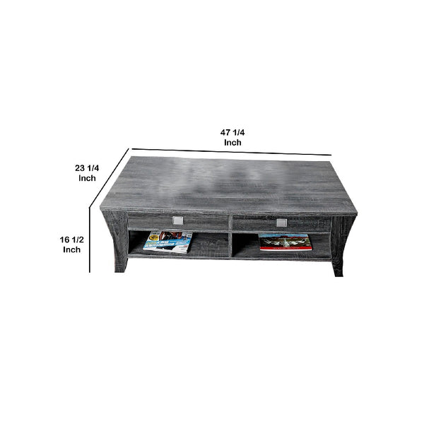 Low Rise Coffee Table with Drawers and Bottom Shelves, Gray - BM205339