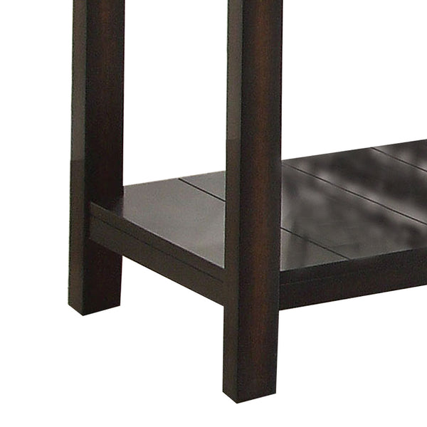 Transitional End Table with Genuine Marble Top, Brown - BM205350
