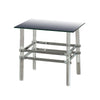Square Glass and Metal End Table with Tubular Legs, Silver and Clear - BM205374