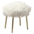 Faux Fur Upholstered Contemporary Metal Ottoman, White and Gold - BM205378