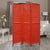 3 Panel Foldable Wooden Shutter Screen with Straight Legs, Red - BM205396