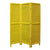 3 Panel Foldable Wooden Shutter Screen with Straight Legs, Yellow - BM205397
