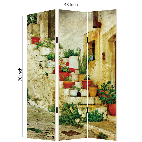 Foldable 3 Panel Canvas Screen with Spanish Tidings Print, Multicolor - BM205402