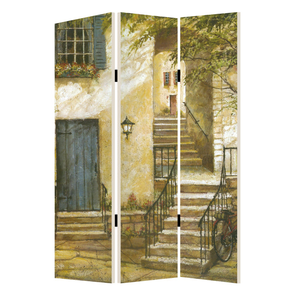 Foldable 3 Panel Canvas Screen with Europe Promenade Print, Multicolor - BM205403