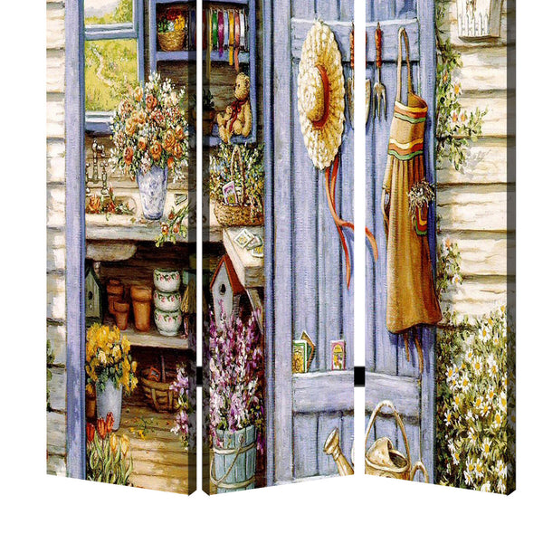 3 Panel Foldable Canvas Screen with Country Living Print, Multicolor - BM205405
