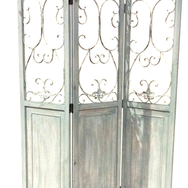 Wooden 3 Panel Foldable Screen with Metal Scrollwork Details, Blue - BM205408