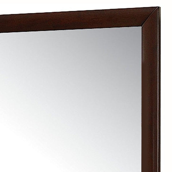Contemporary Rectangular Mirror with Wooden Frame, Brown and Silver - BM205569