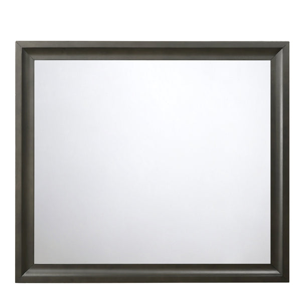 Contemporary Style Wooden Mirror with Raised Edge Framework, Gray - BM205594