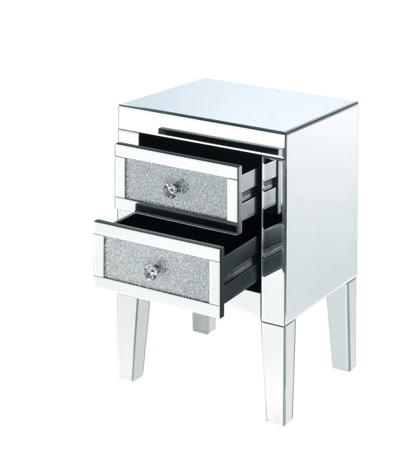 Wooden Night Table with 2 Spacious Drawers and Tapered Legs, Silver - BM205597