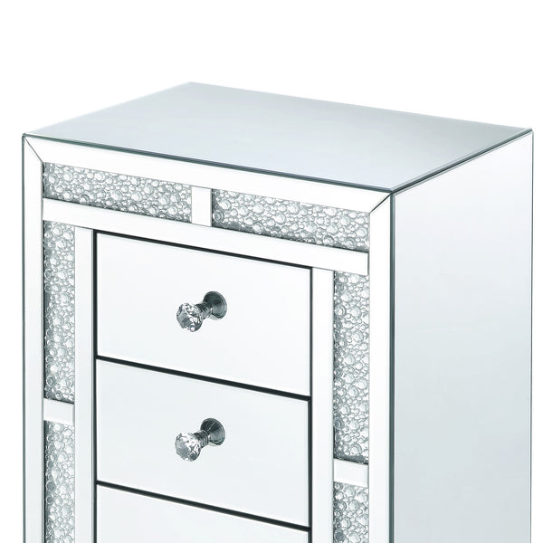 Mirrored Wooden Night Table with Flat Base and 3 Drawers, Silver - BM205599