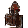 Traditional Wooden Mirror with Oversized Polyresin Scrollwork, Brown - BM205613